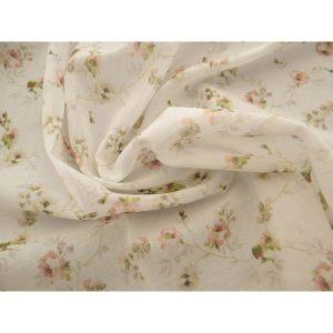 Бял плат за пердета на цветя