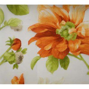 Плат за тънки пердета с оранжеви цветя