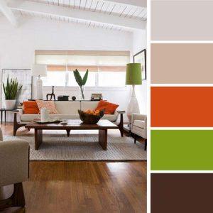 Палитра на бяло, оранжево и зелено